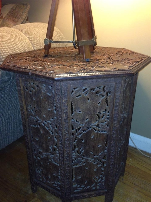 wooden antique table from estate sale
