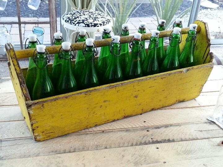 old green glass bottles from estate sale
