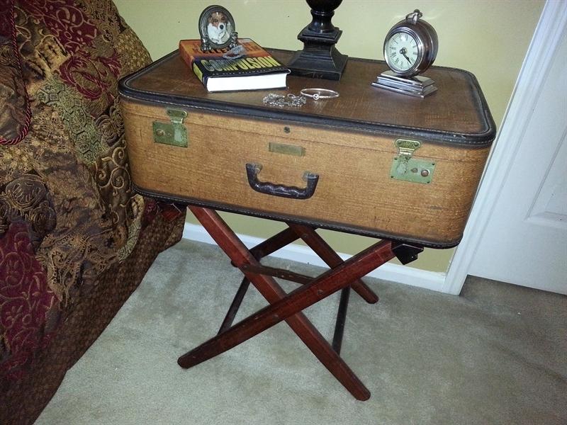 brown vintage suitcase nightstand