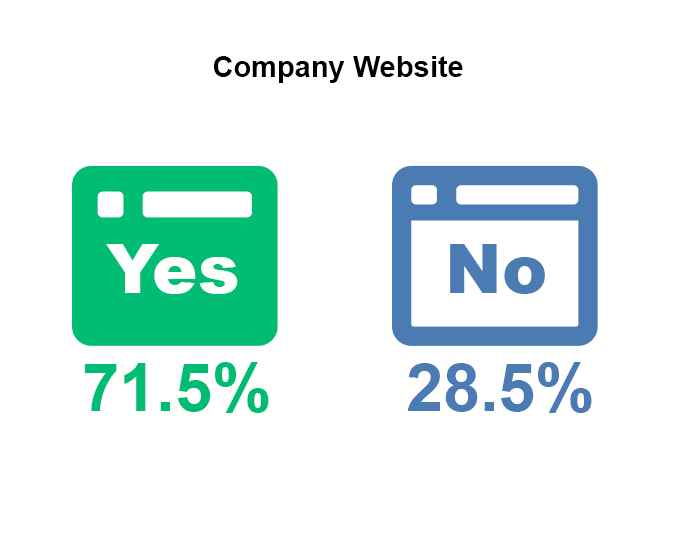 Percentage of companies that have a website graph