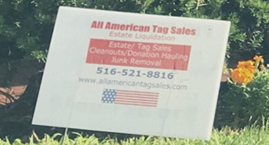 Image of All American Tag Sales yard sign