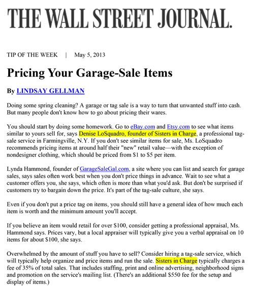 Sisters In Charge Tag Sales Services