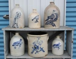 antique decorated stoneware jugs and crocks